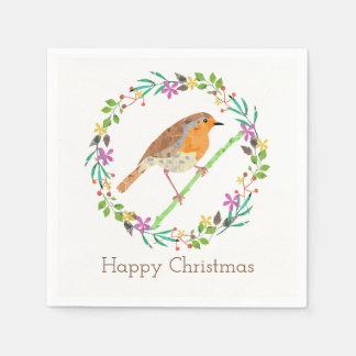 Guardanapo De Papel Pisco de peito vermelho o pássaro do Natal