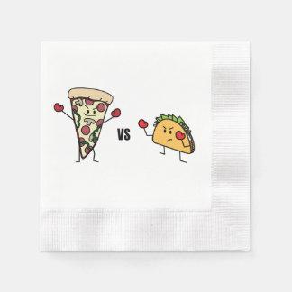 Guardanapo De Papel Pizza de Pepperoni CONTRA o Taco: Mexicano contra