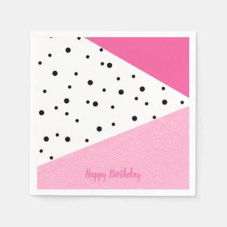 Guardanapo De Papel Pontos pretos de couro cor-de-rosa geométricos