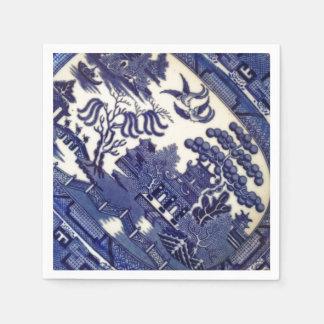 Guardanapo De Papel Prato azul do azulejo do teste padrão da placa de