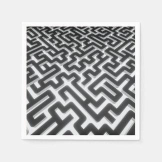 Guardanapo De Papel Preto de prata do labirinto