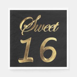 Guardanapo De Papel Preto do doce 16 e tipografia do olhar do ouro
