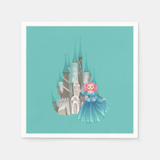 Guardanapo De Papel Princesa e castelo pequenos na turquesa