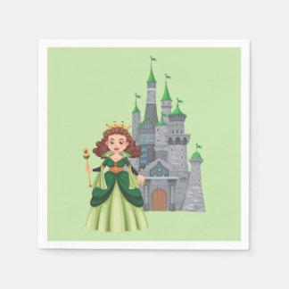 Guardanapo De Papel Princesa e castelo pequenos no verde