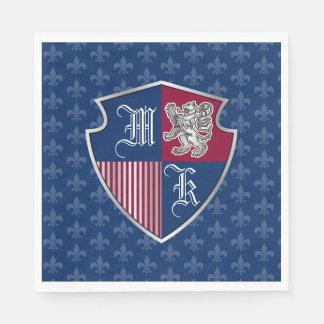Guardanapo De Papel Protetor de prata do emblema do monograma da