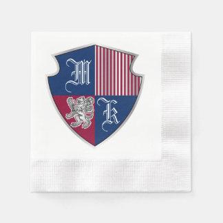 Guardanapo De Papel Protetor do leão da prata do emblema do monograma