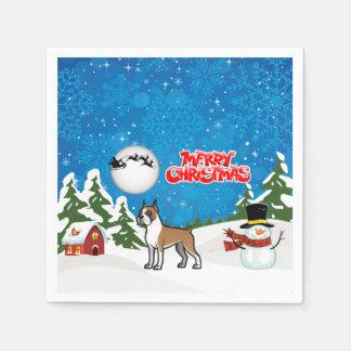 Guardanapo De Papel Pugilista do Feliz Natal com um boneco de neve e o
