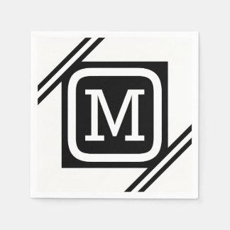 Guardanapo De Papel Quadrado básico branco & preto elegante monograma