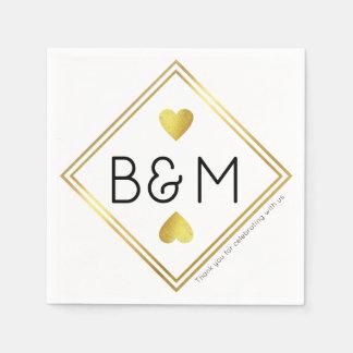 Guardanapo De Papel quadrado geométrico do monograma do amor da