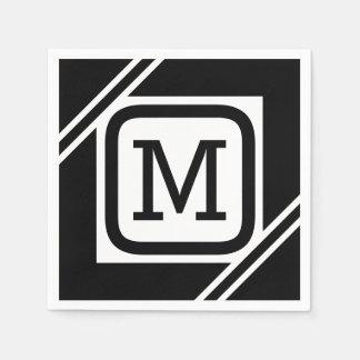 Guardanapo De Papel Quadrado simples preto & branco elegante monograma