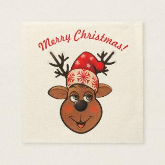 Guardanapo De Papel Rena bonito com chapéu do Natal