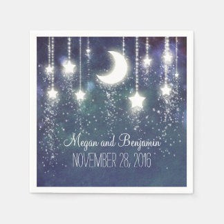 Guardanapo De Papel romântico enchanted marinho da lua e das estrelas