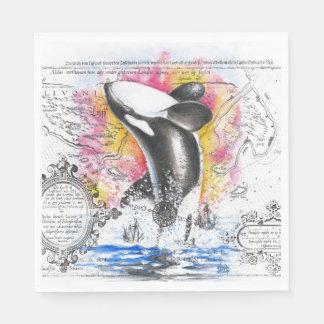 Guardanapo De Papel Rompendo o arco-íris do mapa do vintage da baleia