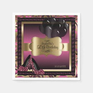 Guardanapo De Papel Rosa e ouro metálicos - texto do feliz aniversario