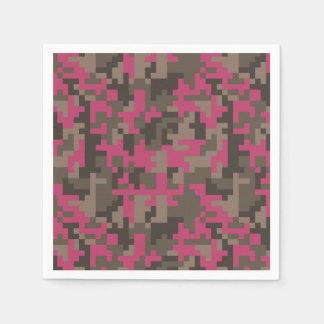 Guardanapo De Papel Rosa e teste padrão de Camo do pixel de Brown
