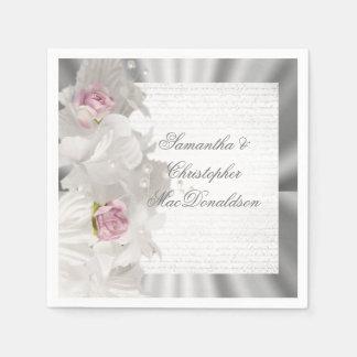 Guardanapo De Papel Rosa floral branco do rosa e casamento de prata