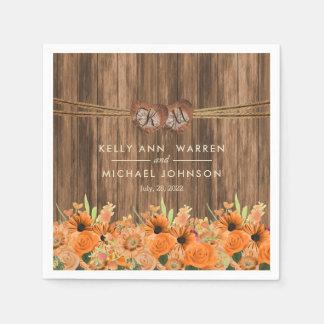 Guardanapo De Papel Rosas e flores alaranjados bonitos da margarida na