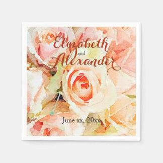 Guardanapo De Papel Rosas elegantes do pêssego da aguarela que Wedding
