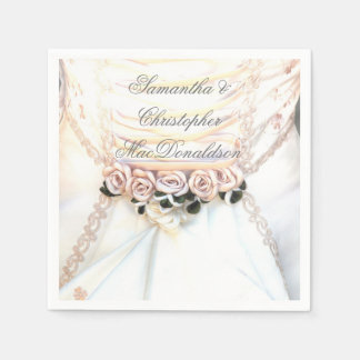 Guardanapo De Papel Rosas florais do pêssego e vestido de casamento