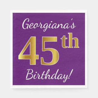 Guardanapo De Papel Roxo, aniversário do ouro do falso 45th + Nome