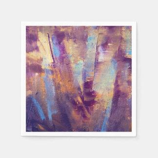 Guardanapo De Papel Roxo & pintura a óleo abstrata do ouro metálica