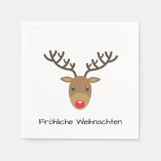 Guardanapo De Papel Rudolph a rena Fröhliche Weihnachten