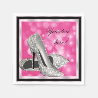 Guardanapo De Papel Salto alto de prata cor-de-rosa elegante do brilho