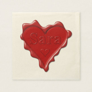 Guardanapo De Papel Sara. Selo vermelho da cera do coração com Sara