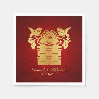 Guardanapo De Papel Símbolo dobro da felicidade dos pássaros chineses