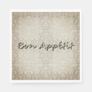 """Guardanapo De Papel Stylish-Party-Supplies_Damask_Gold_- """"Bon Appétit"""