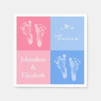 Guardanapo De Papel Suas pegadas cor-de-rosa bonitos gêmeas do bebê do