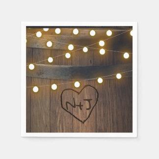 Guardanapo De Papel Tambor de madeira o coração cinzelado ilumina o