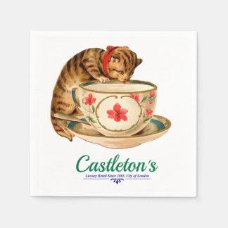 Guardanapo De Papel Teacup do vintage e poster do gatinho para a loja