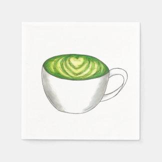 Guardanapo De Papel Teacup Foodie de Latte do chá verde de Matcha do