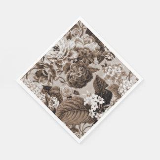 Guardanapo De Papel Tecido floral No.1 de Toile do vintage de Brown do