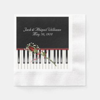 Guardanapo De Papel teclado de piano com a rosa vermelha anniverary