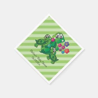 Guardanapo De Papel Tema gêmeo bonito do chá de fraldas da tartaruga
