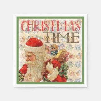 Guardanapo De Papel Tempo Papai Noel do natal vintage