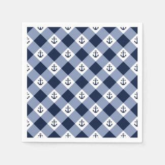 Guardanapo De Papel Teste padrão checkered náutico diagonal do guingão