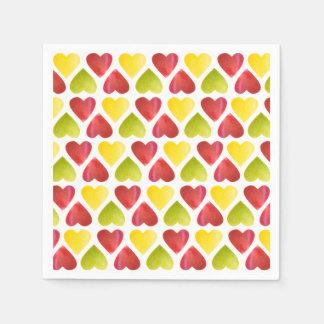 Guardanapo De Papel Teste padrão colorido dos corações de Apple
