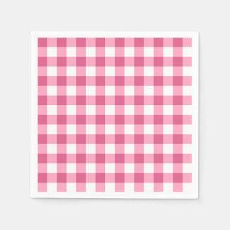 Guardanapo De Papel Teste padrão cor-de-rosa e branco da verificação