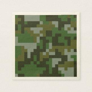 Guardanapo De Papel Teste padrão da camuflagem da floresta do pixel