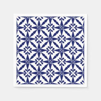 Guardanapo De Papel Teste padrão de estrela de Ikat - azuis marinhos e