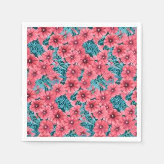 Guardanapo De Papel Teste padrão de flor vermelho do petúnia da