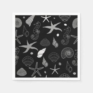 Guardanapo De Papel Teste padrão do preto da estrela do mar do