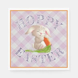 Guardanapo De Papel Teste padrão Hoppy do guingão do rosa do coelho de