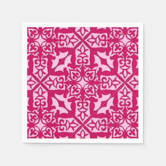 Guardanapo De Papel Teste padrão marroquino do azulejo, fúcsia e rosa