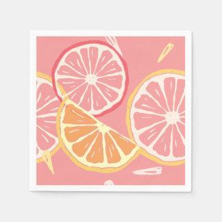 Guardanapo De Papel Teste padrão tropical da toranja cor-de-rosa e do