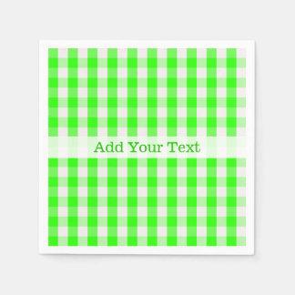 Guardanapo De Papel Teste padrão verde de néon do guingão por Shirley
