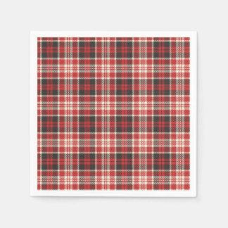 Guardanapo De Papel Teste padrão vermelho e preto da xadrez